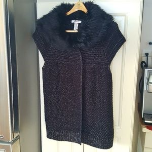 Faux Fur Removeable Collar Silver Thread Cardigan